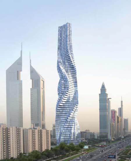 ドバイに建設予定のクネクネ動く高層ビル