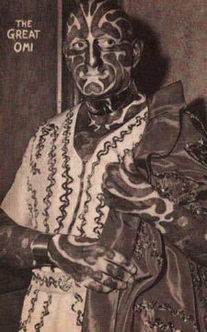 サーカスで人気のあったフリークス達の写真 「シマウマ男」、Horace Ridler。1892年生まれ